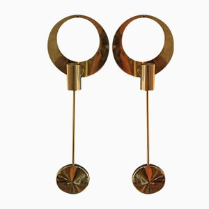 Brass Wall Candleholders by Artur Pe Kolbäck for Artur Pe Kolbäck, 1950s, Set of 2