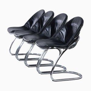 Modell Sabrina Esszimmerstühle mit schwarzen Lederbezügen von Gastone Rinaldi für Thema, 1970er, 4er Set