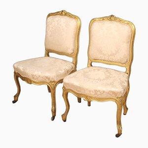 Sillones franceses estilo Louis XV vintage dorados, años 20. Juego de 2