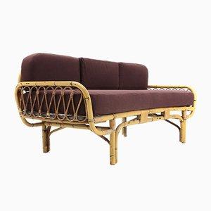 Sofá cama italiano Mid-Century de ratán, años 50