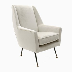 Mid-Century Italian Cream Colored Velvet Armchair, 1950s