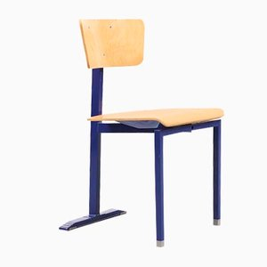 Mid-Century Beech Plywood and Blue Lacquered Metal Dining Chair