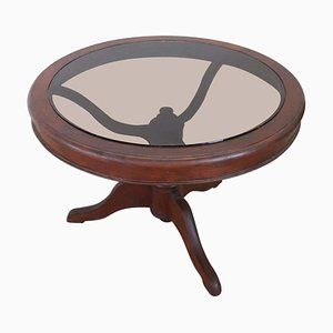 Tavolino da caffè antico in mogano e vetro, anni '80
