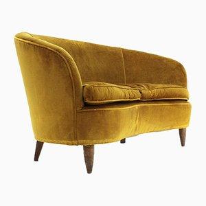 Mid-Century Italian Ocher Velvet 2-Seater Sofa, 1930s