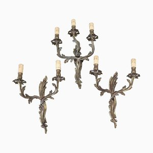 Antique Golden Bronze Sconces, Set of 3