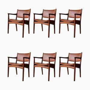 Chaises de Salle à Manger Modèle JH 525 en Teck par Hans J. Wegner pour Johannes Hansen, 1950s, Set de 6