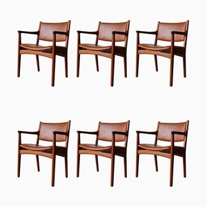Teak Model JH 525 Dining Chairs by Hans J. Wegner for Johannes Hansen, 1950s, Set of 6