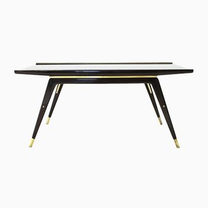 Mid-Century Ebonized Wood, Brass, and Black Glass Coffee Table, 1940s