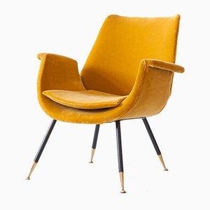 Velvet Armchair by Gastone Rinaldi, 1950s