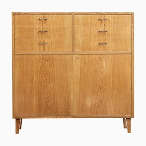 Small Scandinavian Elm Sideboard, 1950s
