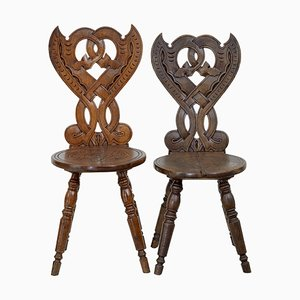 Antique Carved Oak Hall Chairs, Set of 10