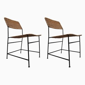Patinated Metal and Rattan Side Chairs by Martin Visser, 1950s, Set of 2