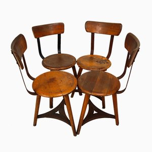 Bauhaus Industrial German Patinated Wooden Dining Chairs, 1930s, Set of 4