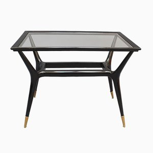 Mid-Century Black Lacquered Side Table, 1950s