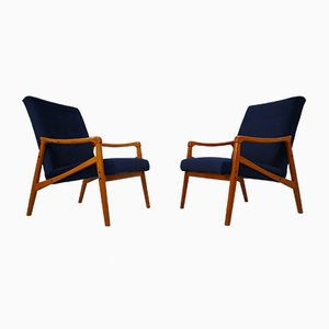 Mid-Century Czech Blue Velvet Armchairs, 1970s, Set of 2