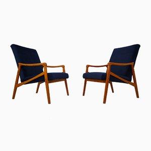 Mid-Century Czech Blue Velvet Armchairs, 1970s, Set of 2