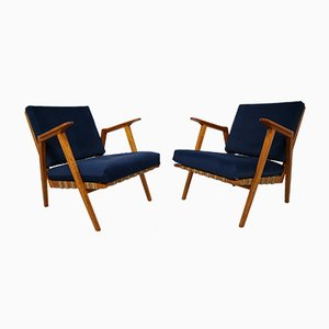 Mid-Century Czech Blue Velvet Armchairs, 1960s, Set of 2
