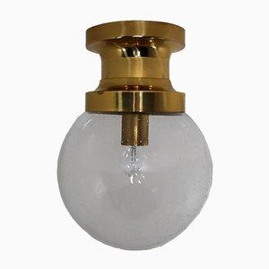 Mid-Century Deckenlampe aus Messing & Glas, 1960er