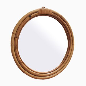 Espejo de pared italiano Mid-Century de bambú y ratán, años 60
