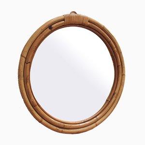 Mid-Century Italian Bamboo and Rattan Wall Mirror, 1960s