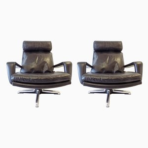 Leather Lounge Chairs from Hans Kaufeld, 1960s, Set of 2