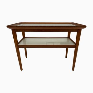 Mid-Century Italian Walnut and Etched Glass Side Table, 1950s