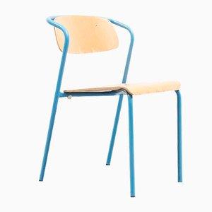 Blauer Mid-Century Stuhl aus Stahlrohr & Schichtholz von Jacques Hitier