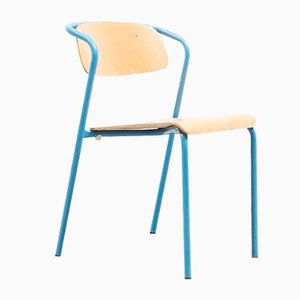 Mid-Century Blue Tubular Metal and Plywood Dining Chair by Jacques Hitier