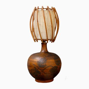 Ceramic and Rattan Table Lamp by Jacques Blin, 1950s