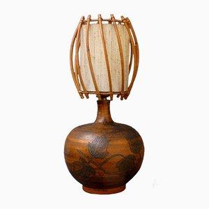 Tischlampe aus Keramik & Rattan von Jacques Blin, 1950er