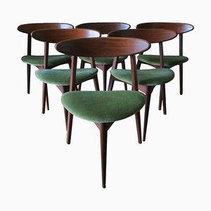 Danish Teak Tripod Dining Chairs, 1960s, Set of 6