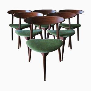 Dreibeinige dänische Esszimmerstühle aus Teak, 1960er, 6er Set