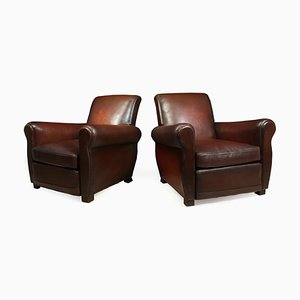 Vintage French Leather Club Chairs, 1940s, Set of 2