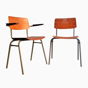 Plywood Desk Chairs, 1960s, Set of 2