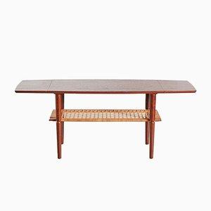 Table Basse Mid-Century en Teck et Rotin, 1960s