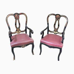 Antike Sessel mit Intarsien, 1880er, 2er Set