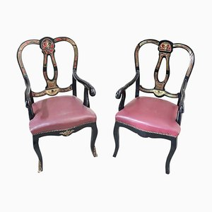 Antique Inlaid Lounge Chairs, 1880s, Set of 2