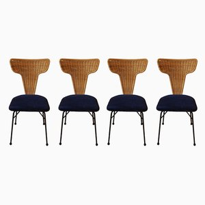 Italian Rattan, Black Metal and Blue Velvet Dining Chairs, 1950s, Set of 4