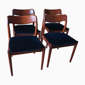 Danish Rosewood and Blue Velvet Dining Chairs, 1960s, Set of 4