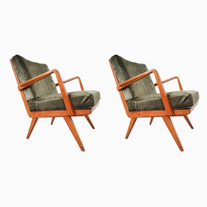 Mid-Century German Cherrywood Armchairs by Walter Knoll, 1950s, Set of 2