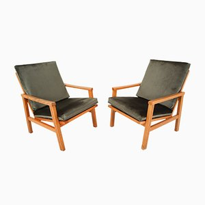 Mid-Century Czech Green Velvet Armchairs, 1970s, Set of 2