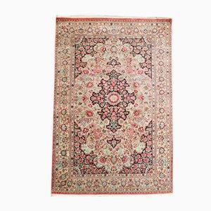 Orientalischer Vintage Seidenteppich mit floralem Muster, 1970er