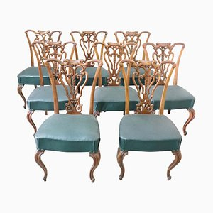 Art Nouveau Carved Walnut Dining Chairs, 1920s, Set of 8