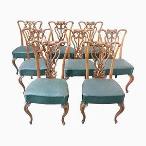 Sedie da pranzo Art Nouveau in noce intagliata, anni '20, set di 8