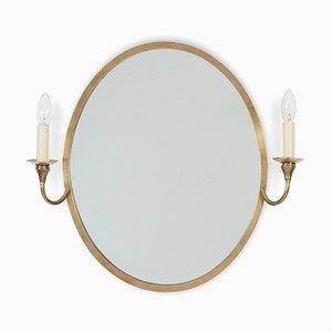 Espejo francés oval con velas, años 60