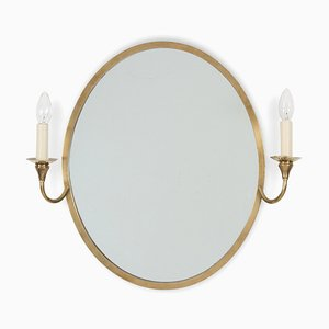 French Oval Mirror with Candle Lights, 1960s