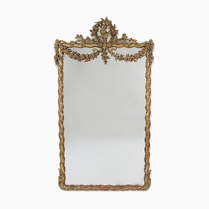 Large Antique Giltwood Mirror With Bird and Floral Garland Detail