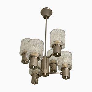 Lámpara de araña vintage de vidrio de 6 brazos de Tyringe Konsthantverk, años 60