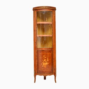 Vintage French Inlaid Marquetry Corner Cabinet, 1950s