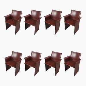 Italienische Vintage Modell Korium Esszimmerstühle mit braunen Lederbezügen von Tito Agnoli für Matteo Grassi, 1980er, 8er Set